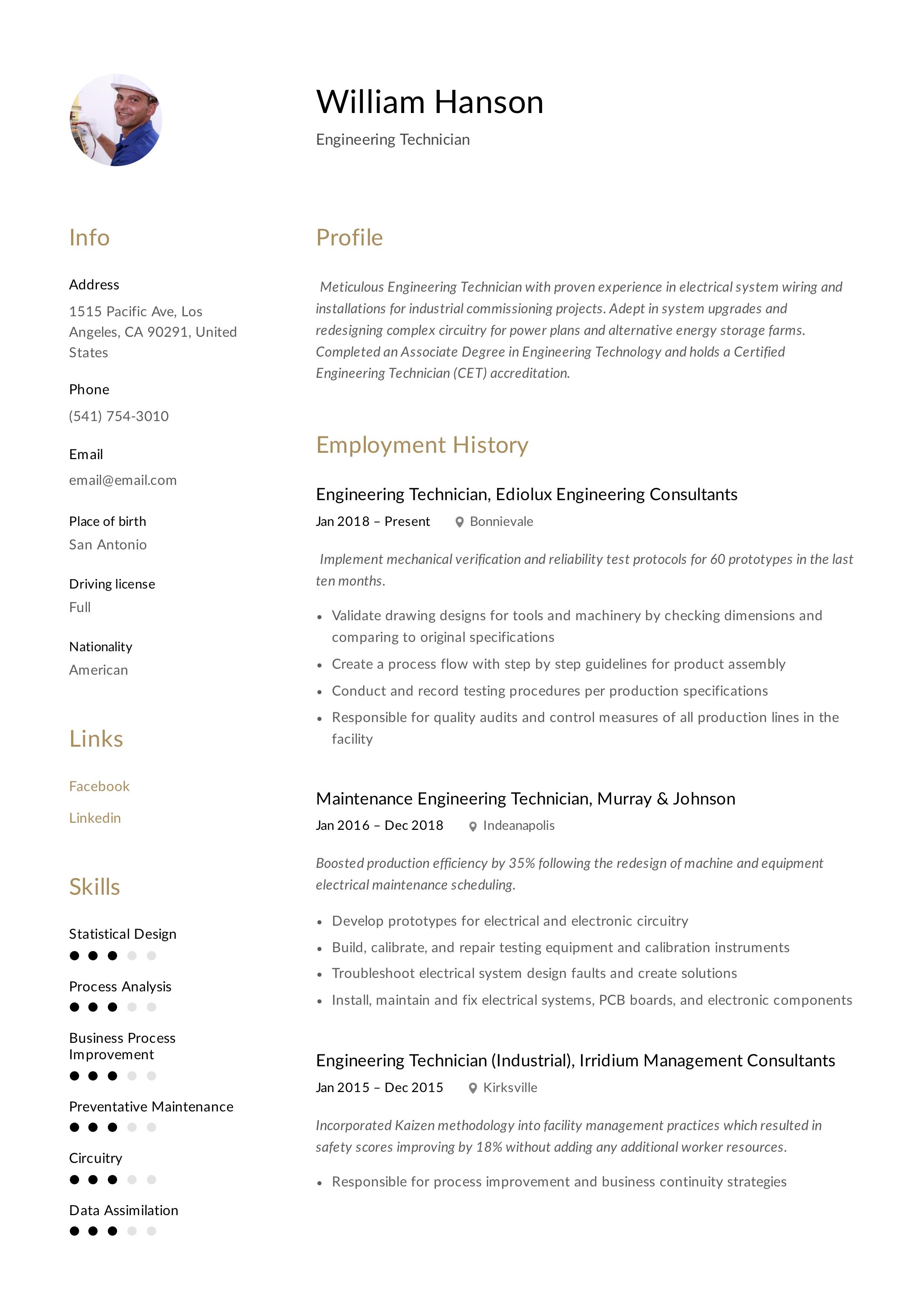 engineering technician resume  u0026 writing guide  12