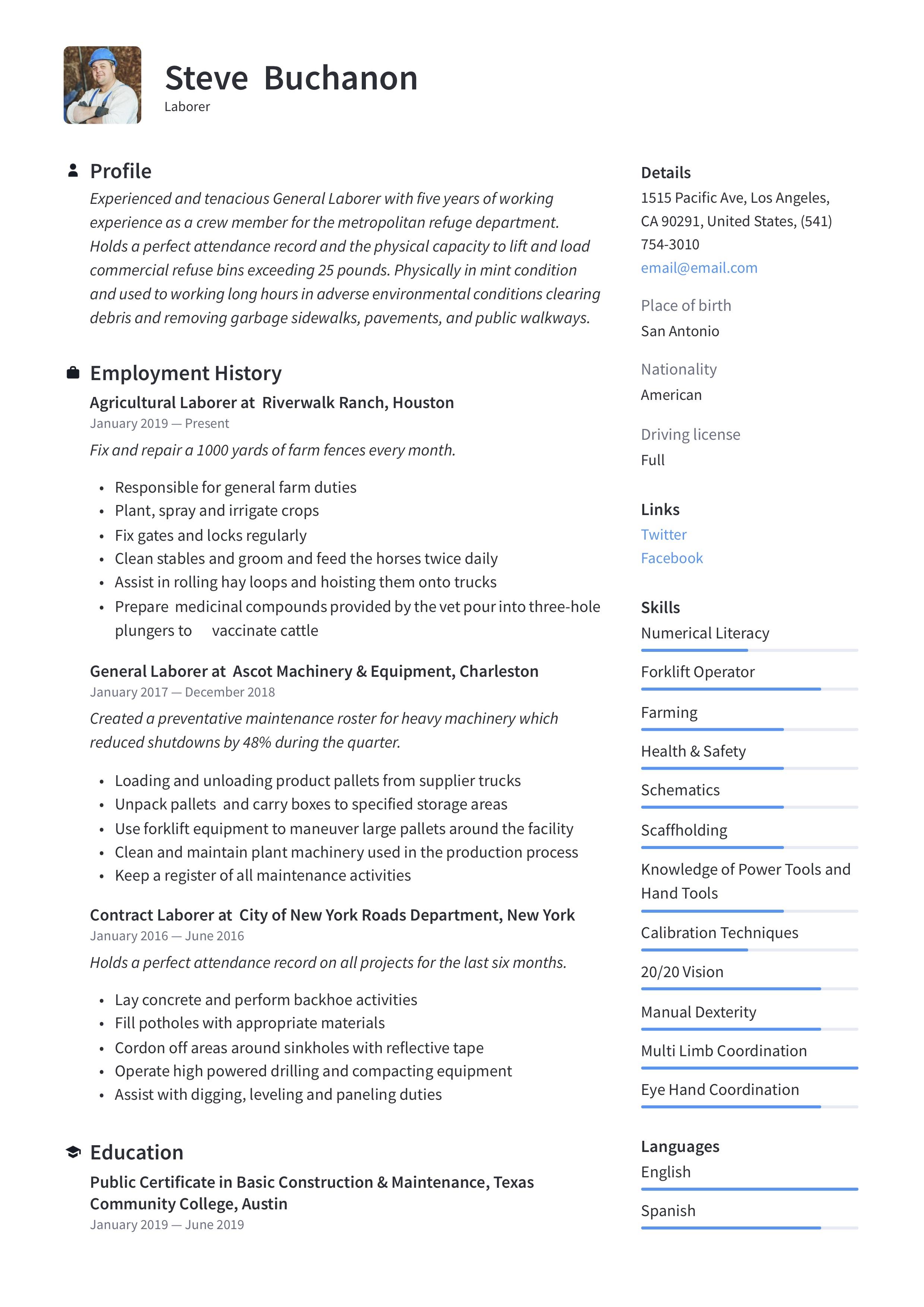 Resume Sample General Laborer