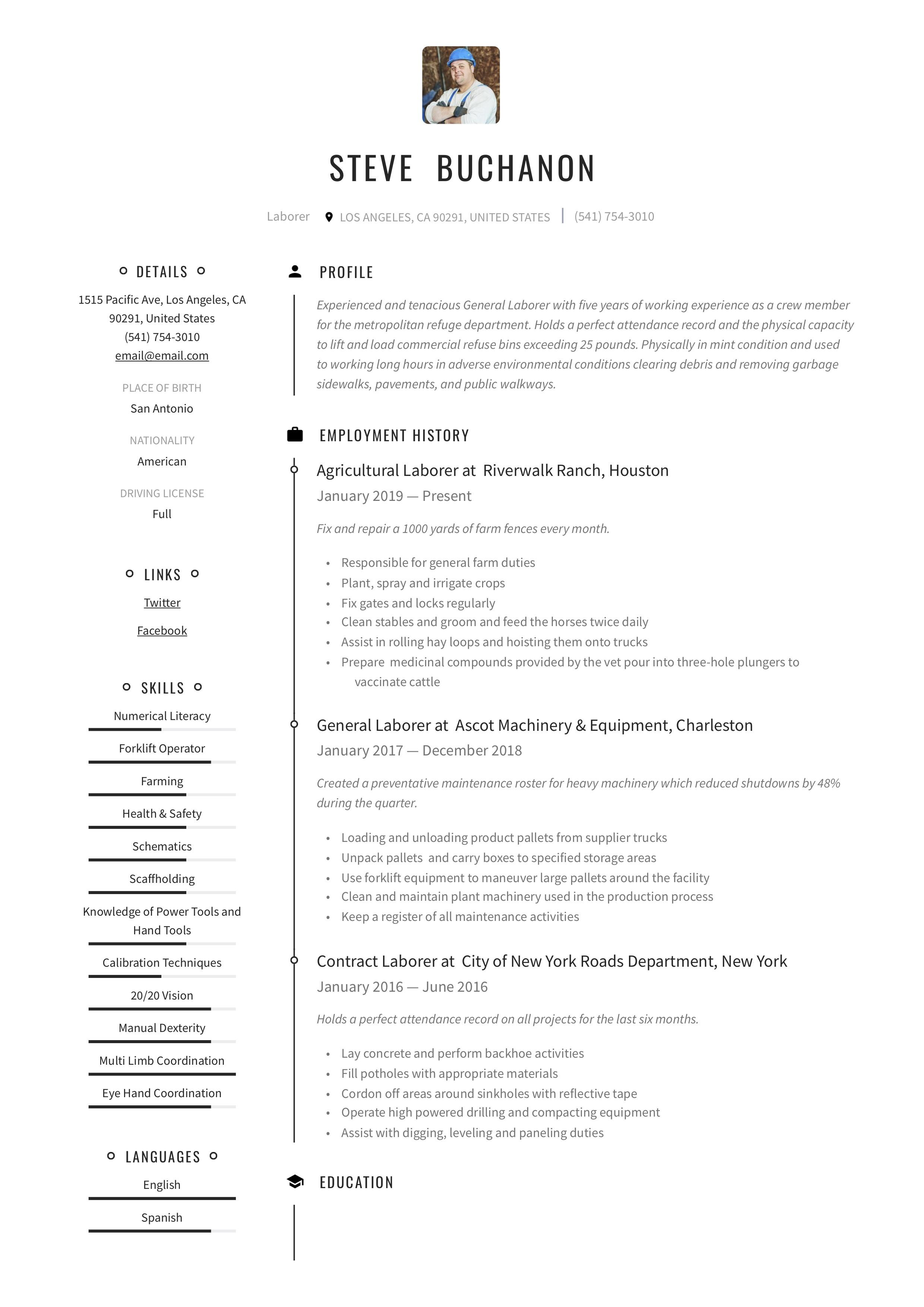 Resume Template General Laborer