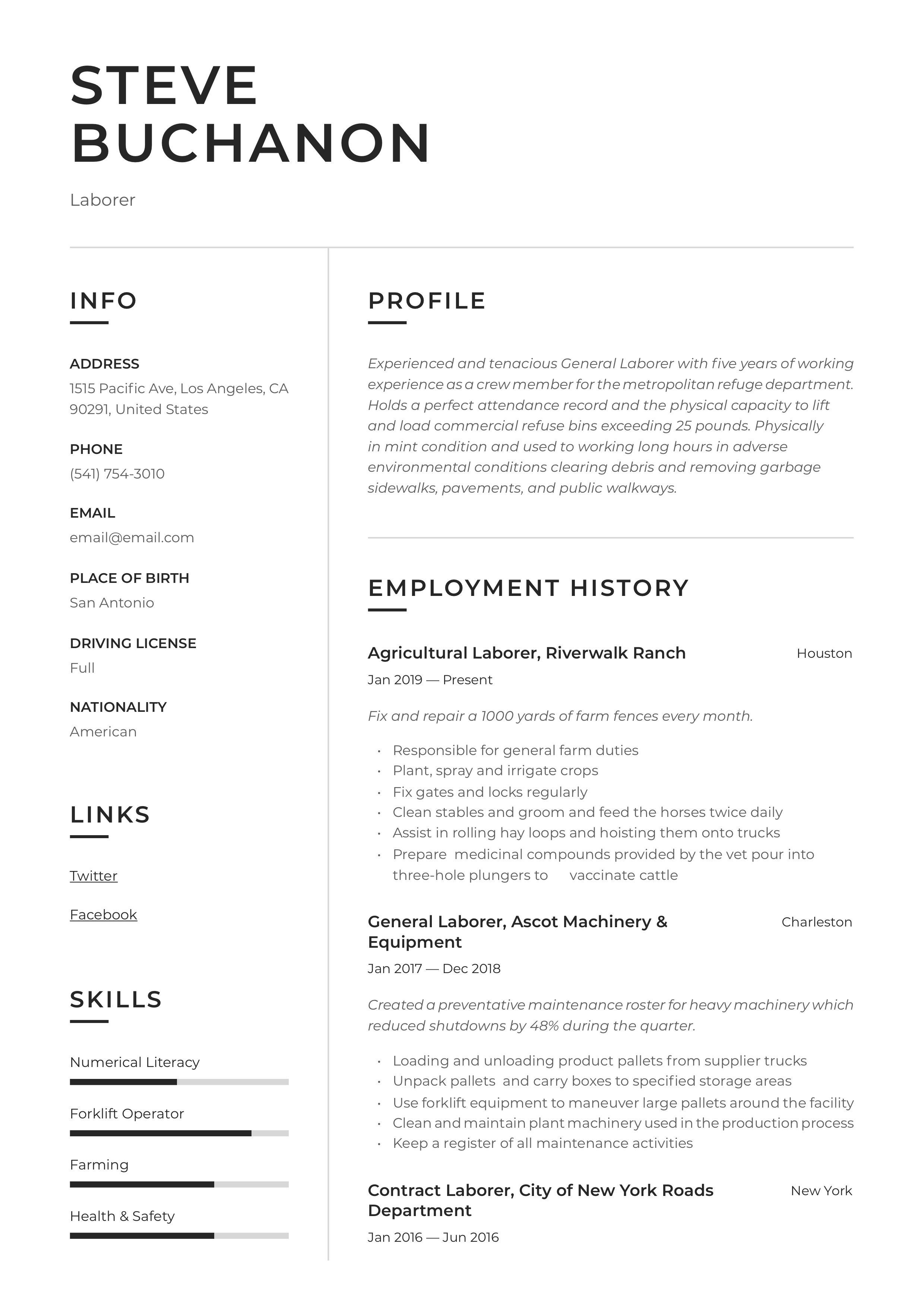 General Laborer Resume Amp Writing Guide 12 Free