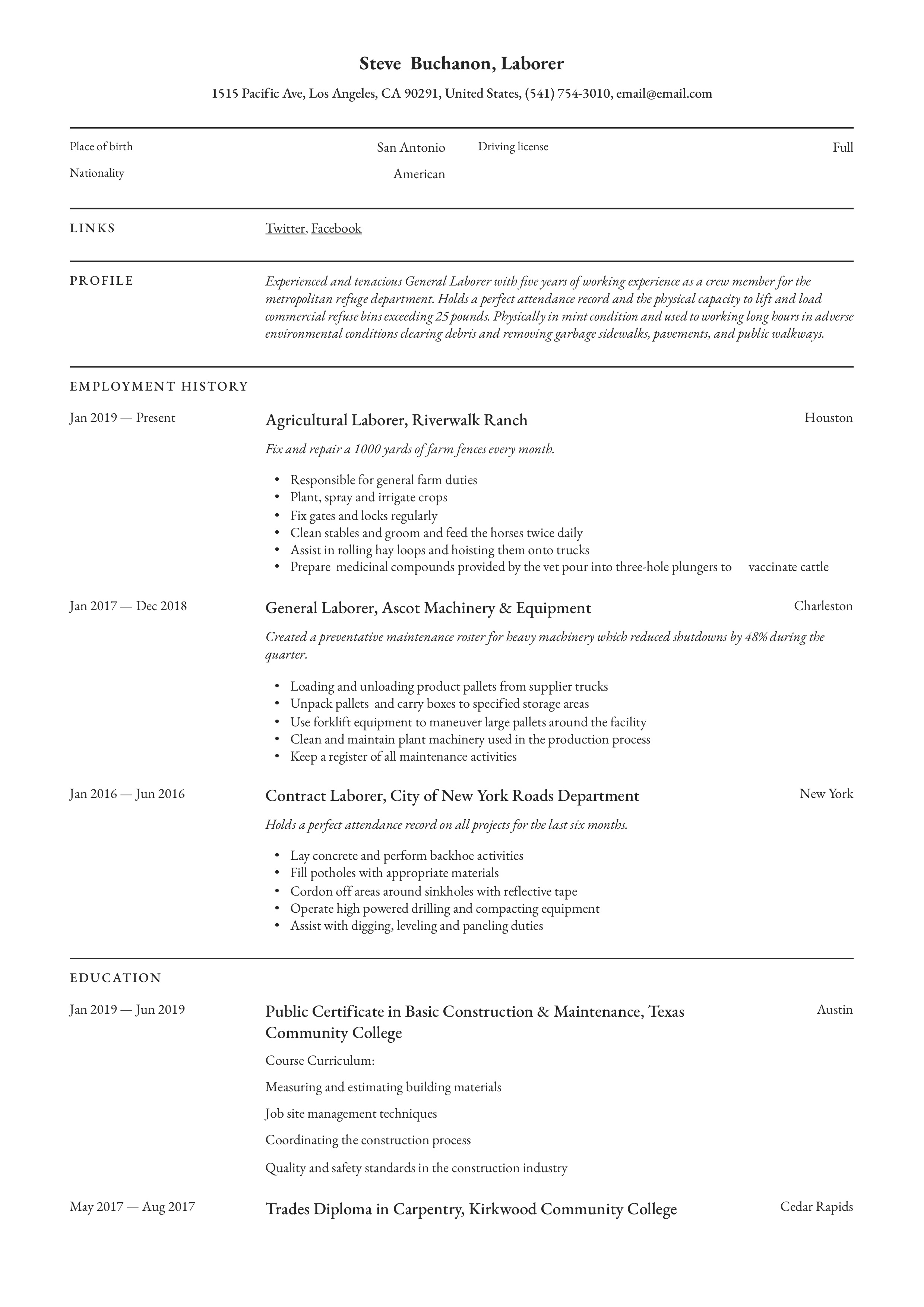 Resume Example General Laborer