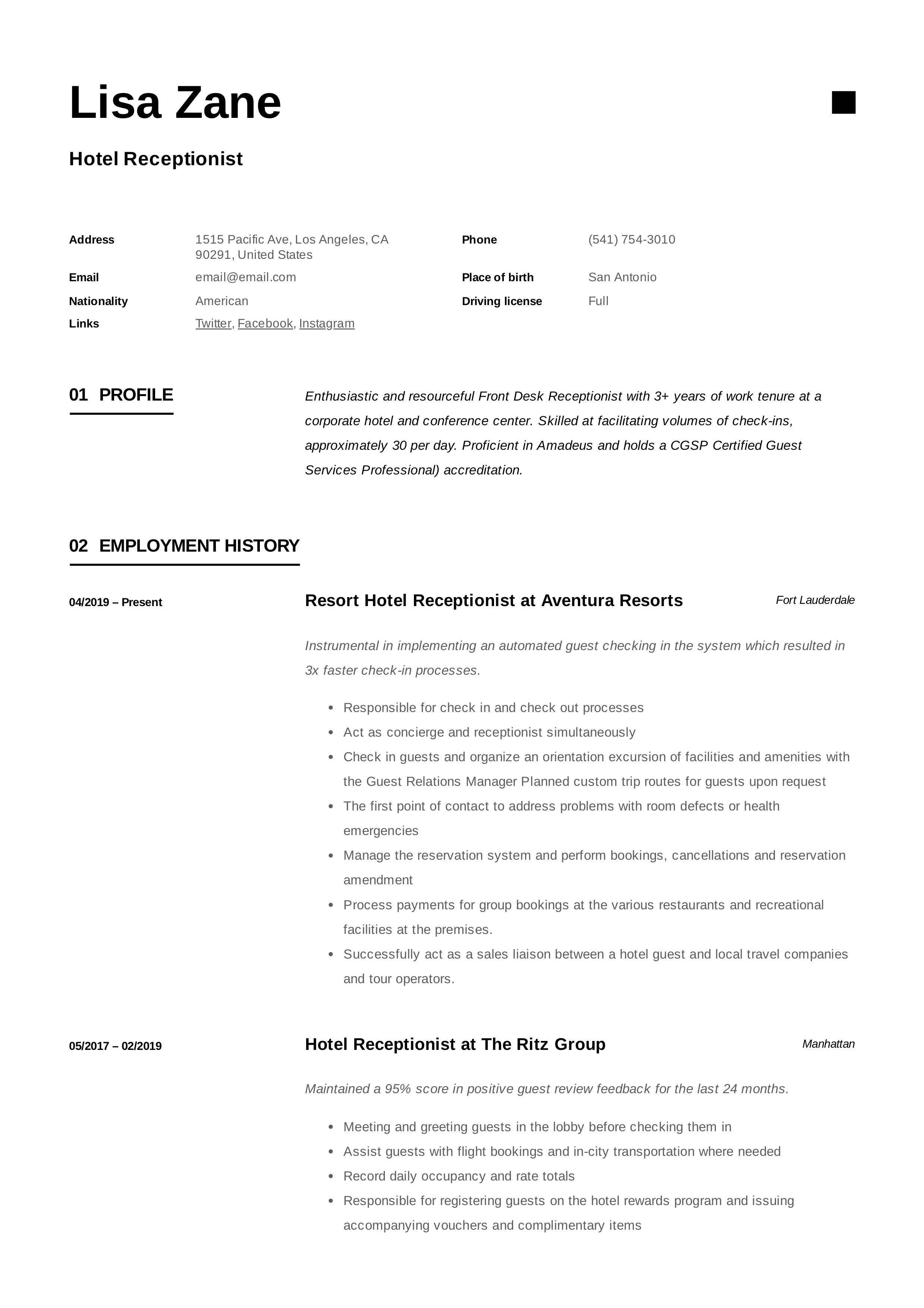 Resume Template Hotel Receptionist