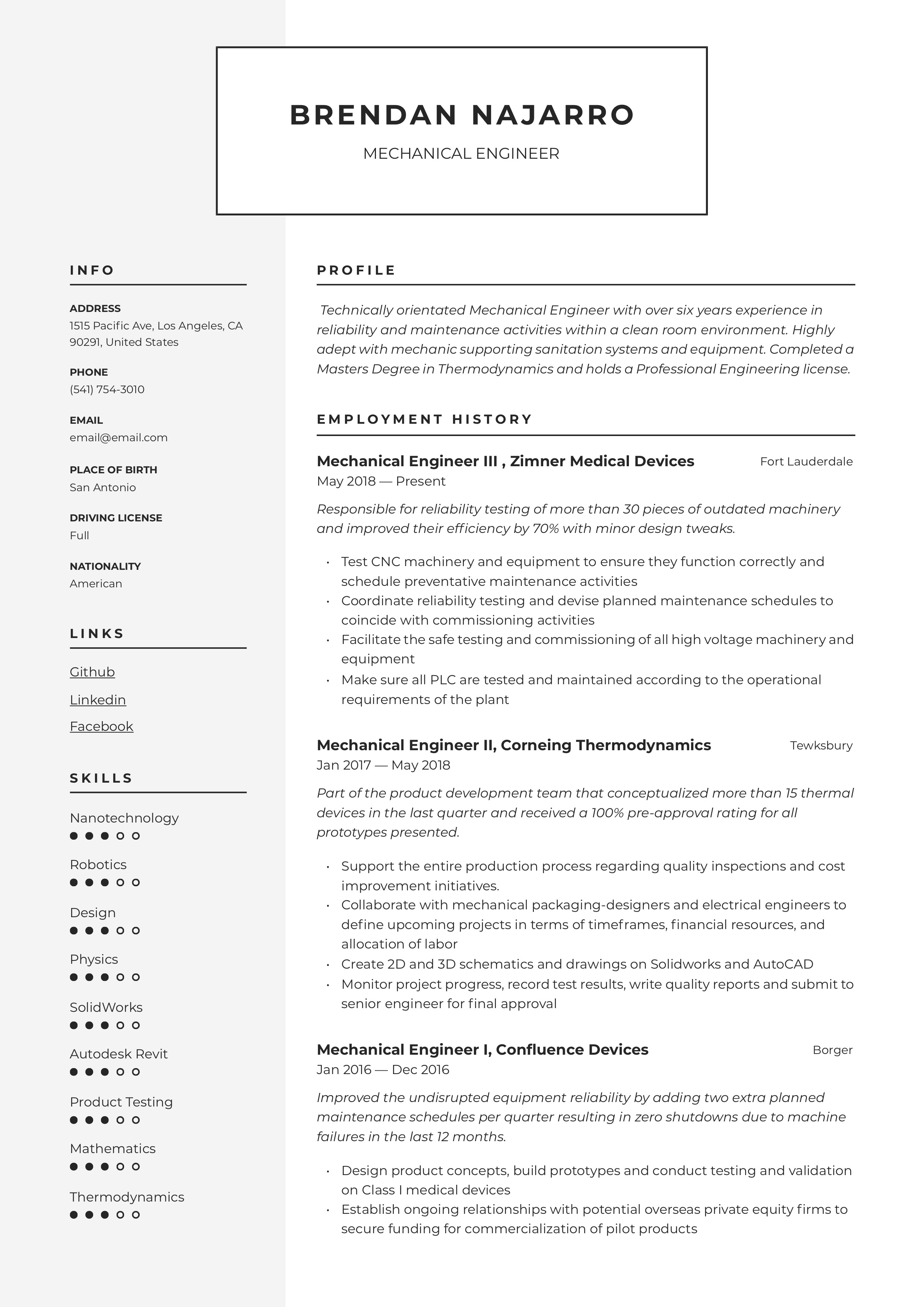 Mechanical Engineer Resume Amp Writing Guide 12 Templates
