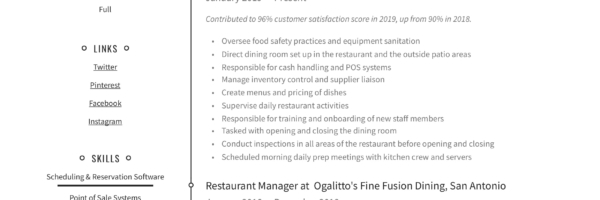 Restaurant Manager Resume Writing Guide 12 Examples 2019