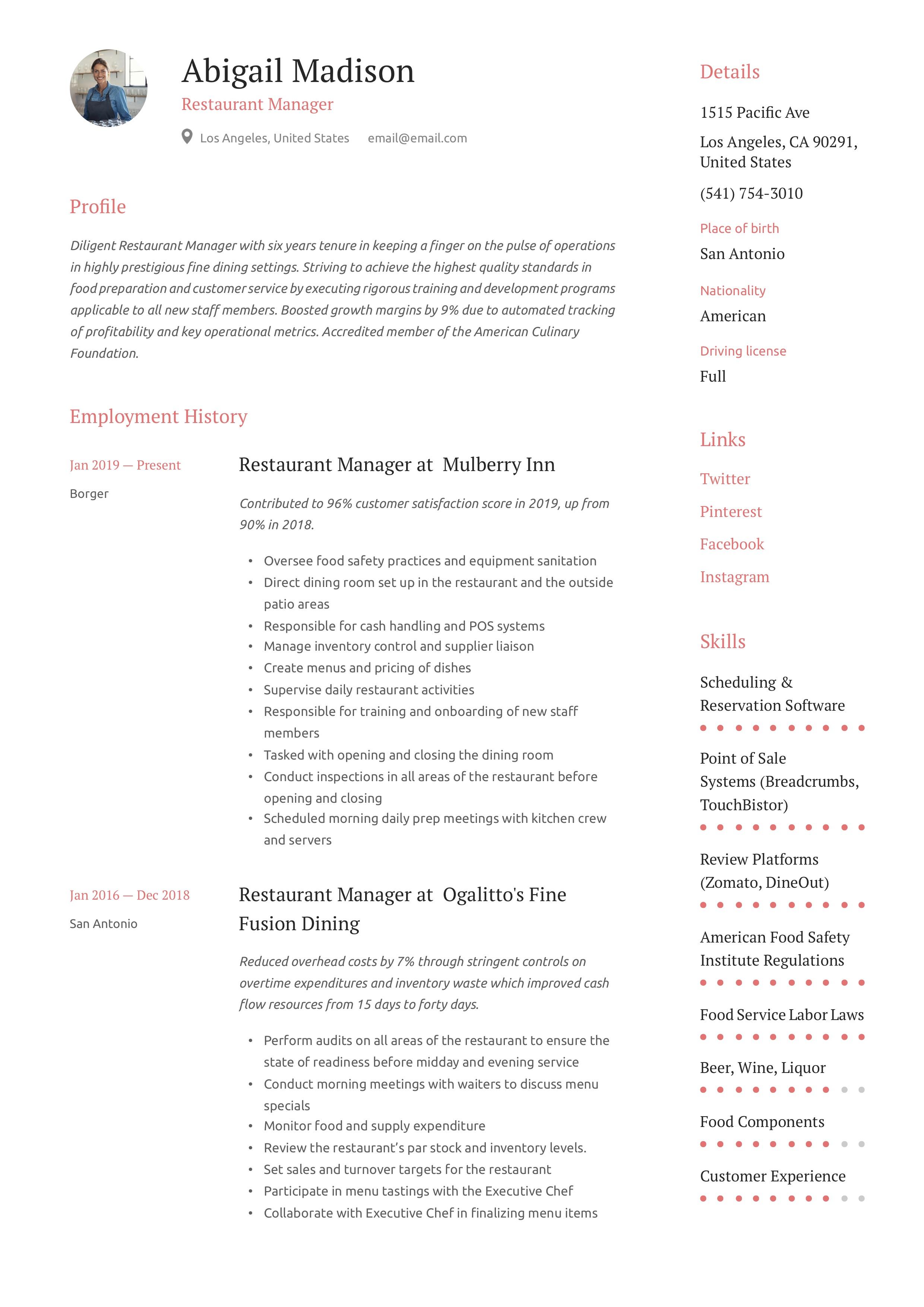 restaurant manager resume  u0026 writing guide