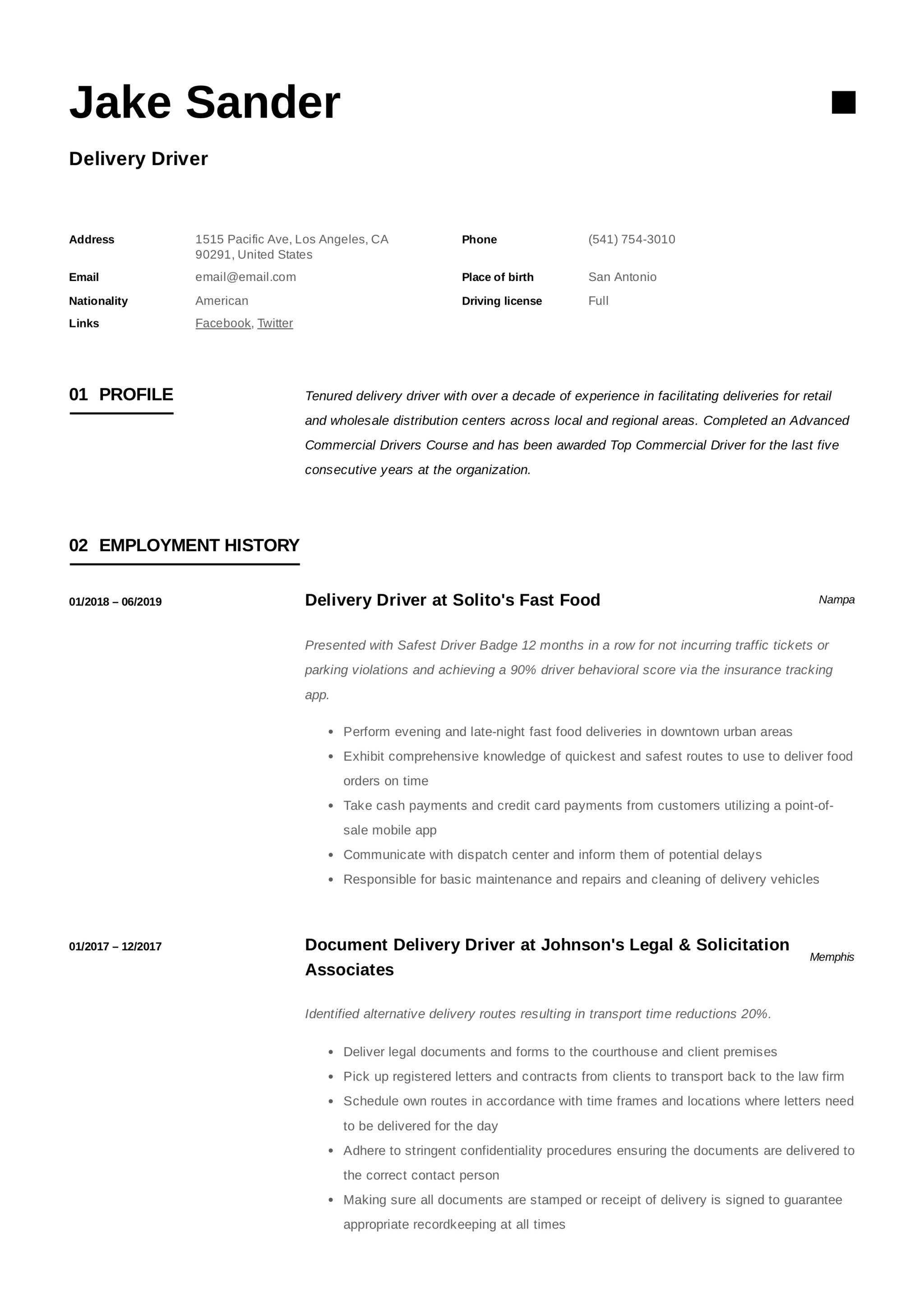 Resume Template Delivery Driver