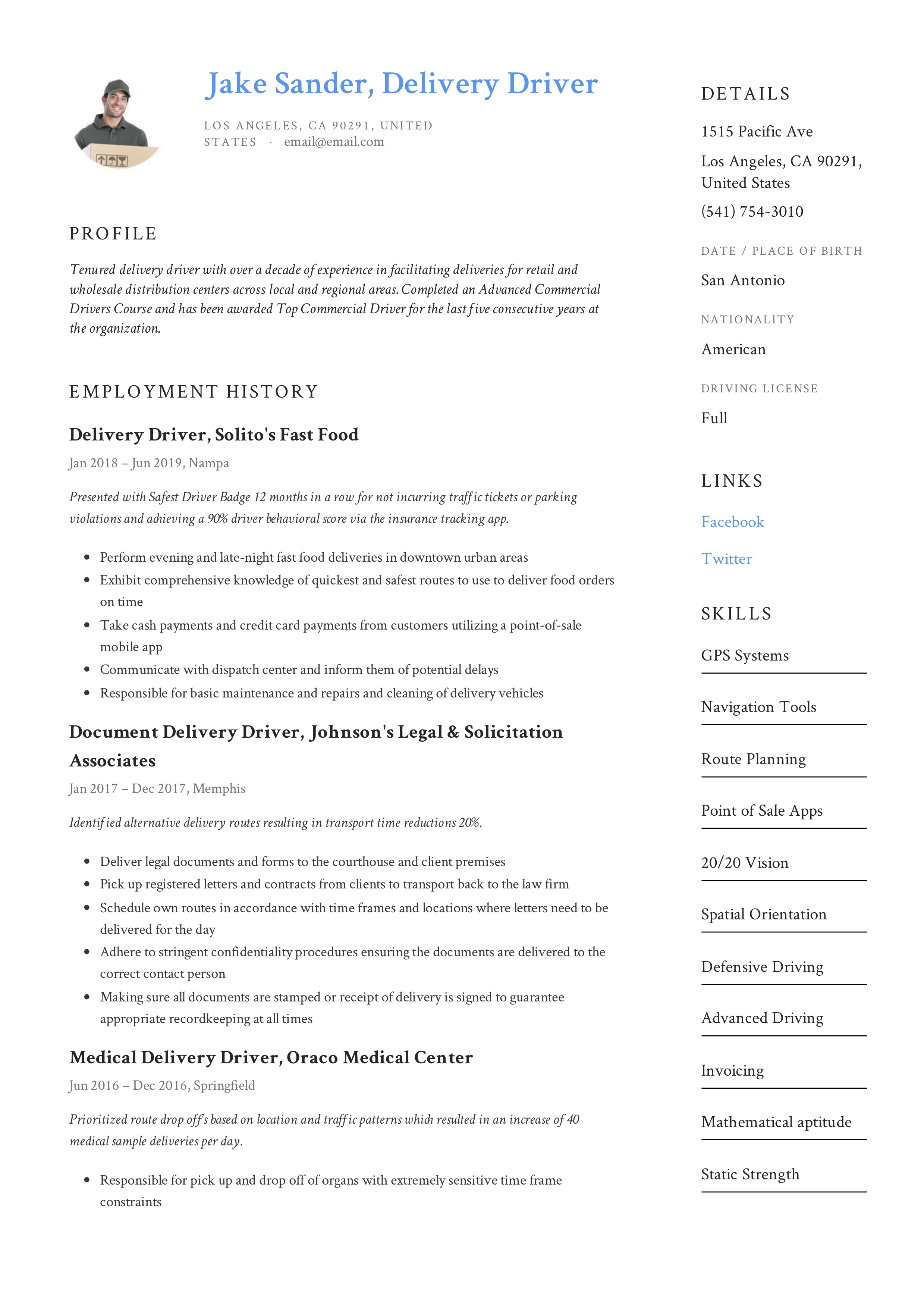 Resume Example Delivery Driver