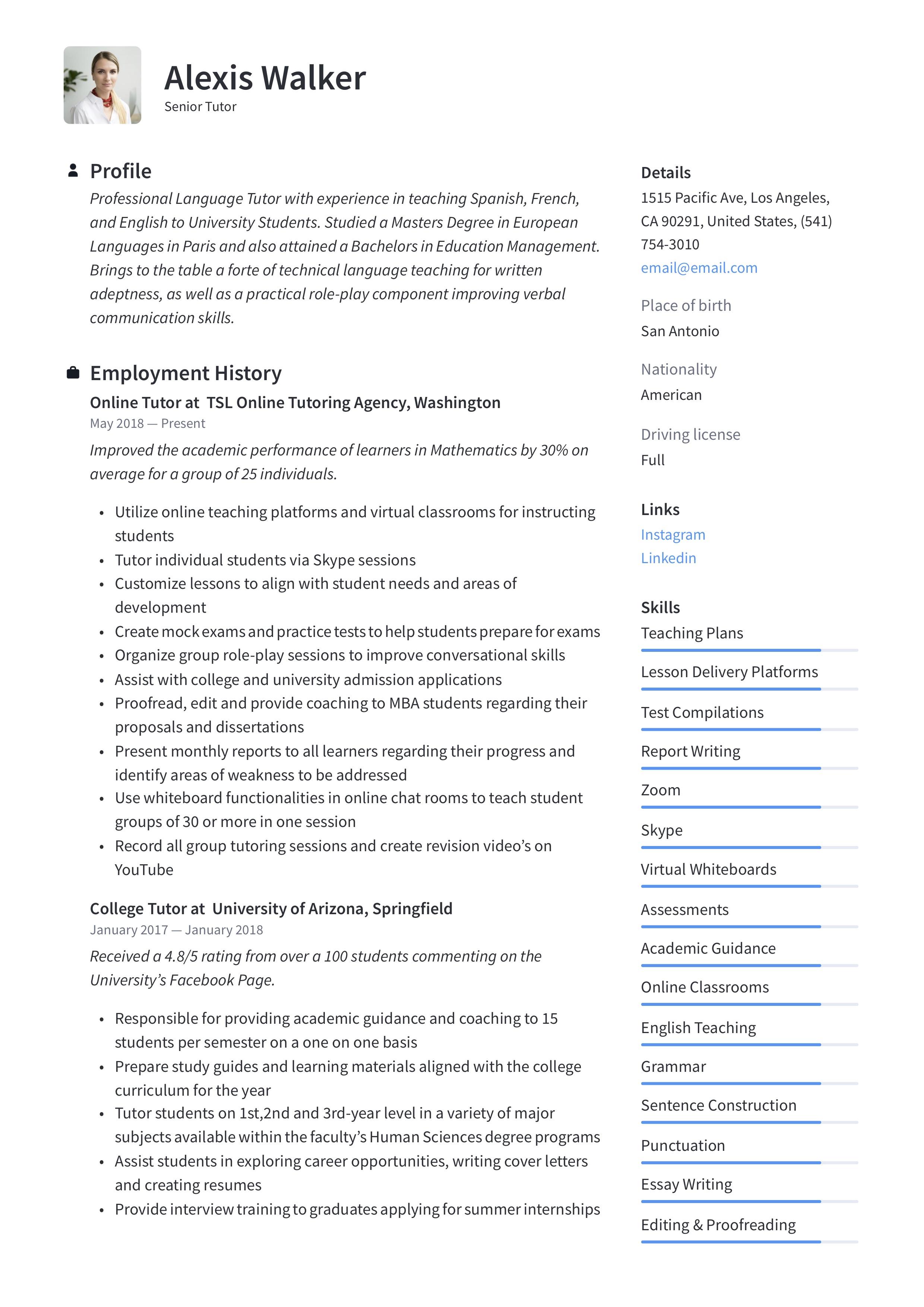 Resume Sample Tutor