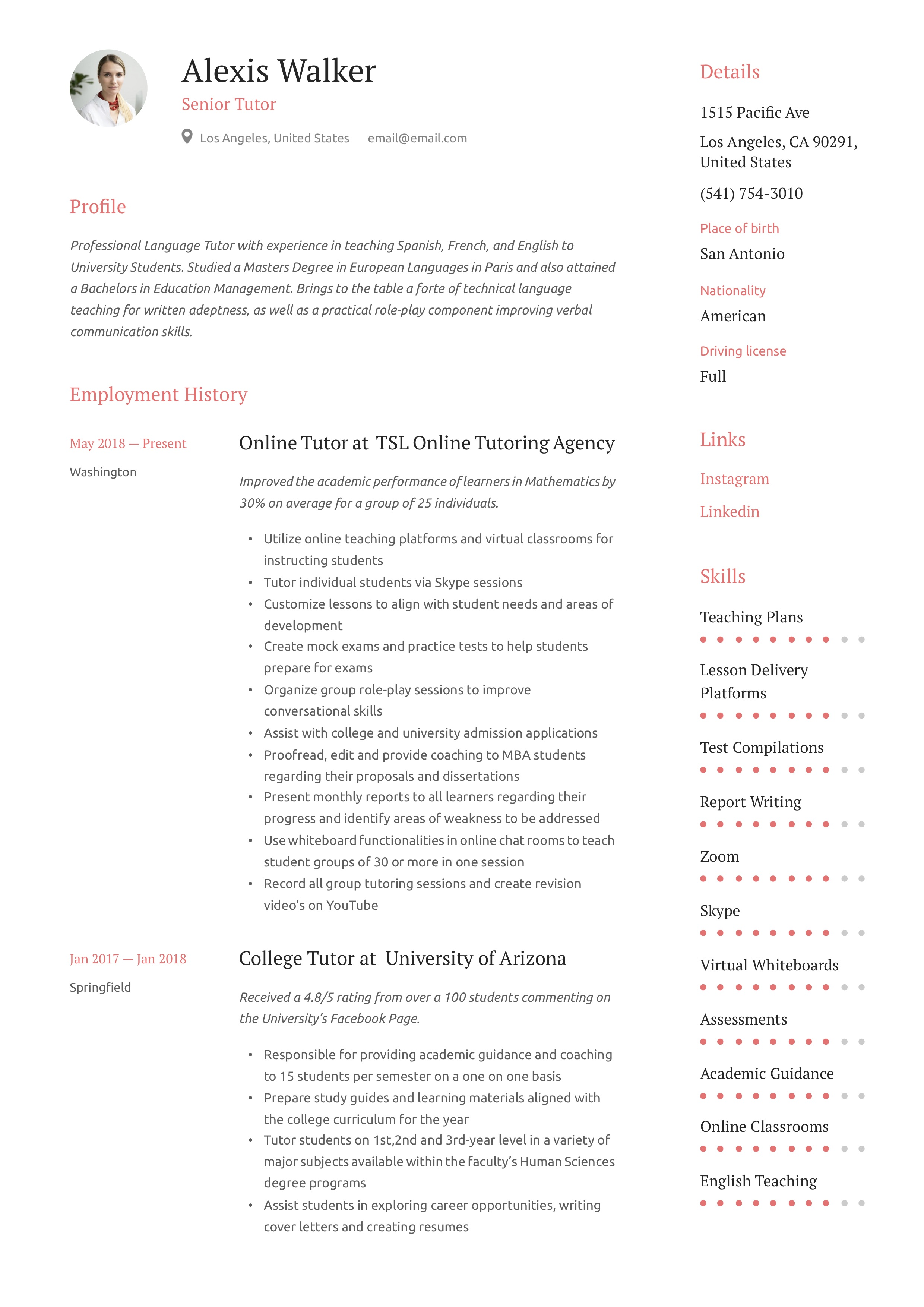 Resume Example Tutor
