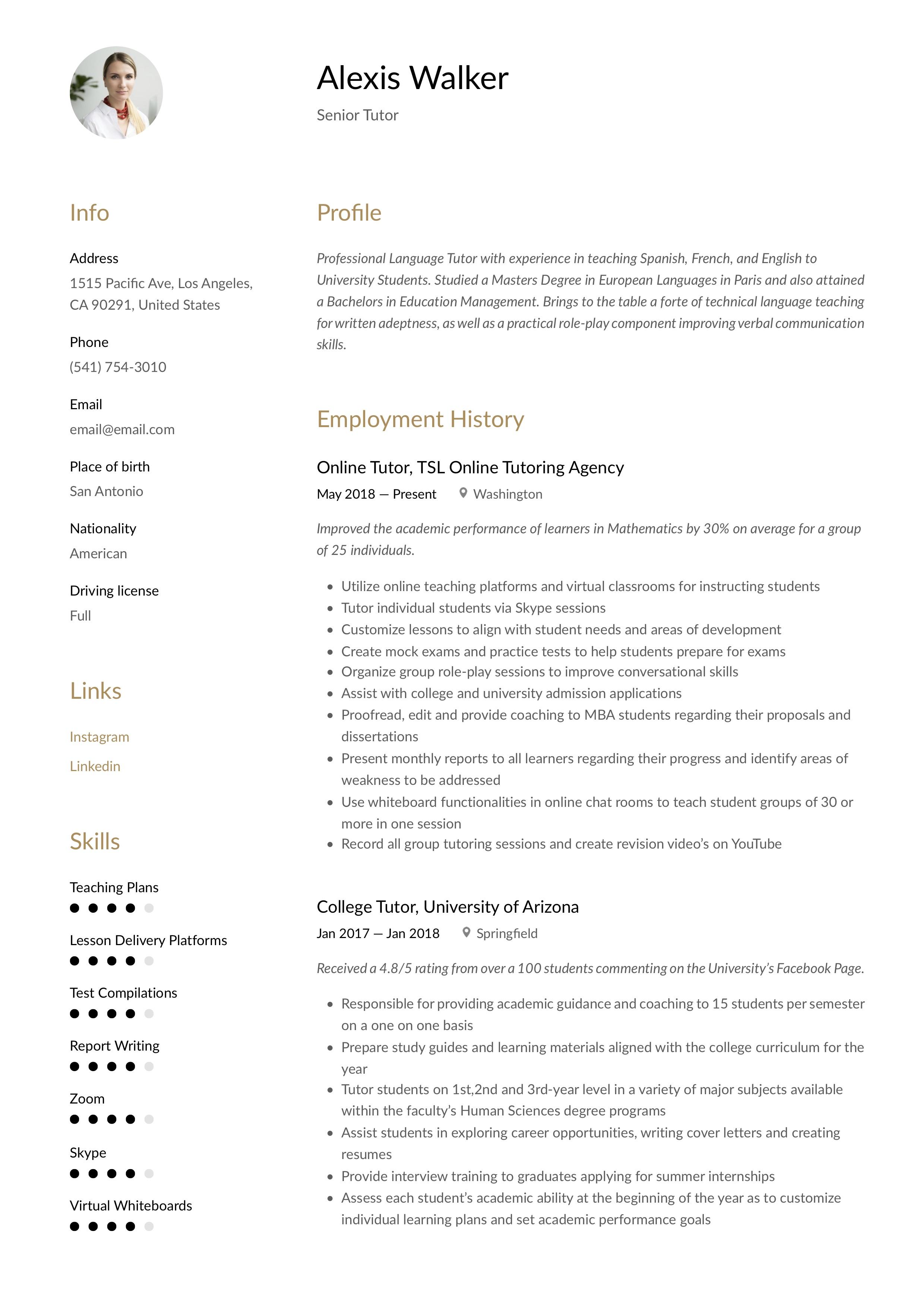 Resume Template Tutor