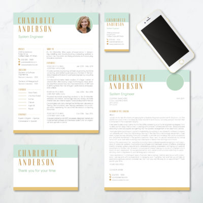 mint colored resume pack with a touch of orange